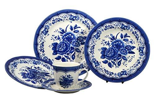 Tudor Royal Collection 30-Piece Premium Quality Porcelain Dinnerware Set, Service for 6 - Victoria BLUE;See 10 DESIGNS Inside!