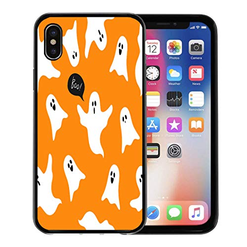 Semtomn Phone Case for Apple iPhone Xs case,Autumn Halloween Ghosts Boo Cute Cartoon on Orange Celebration Character for iPhone X Case,Rubber Border Protective Case,Black -