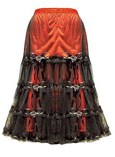 Falda rojo y negro con estilo victoriano 2324, color rosa Rojo