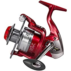Fishing Reels 13+1BB 5.5:1 Gear Ratio Ultra Smooth Powerful Spinning Reels 3000, Left/right Interchangeable Handle Aluminum Alloy Gear Design for Freshwater Saltwater Boat Bass Fishing (Red)