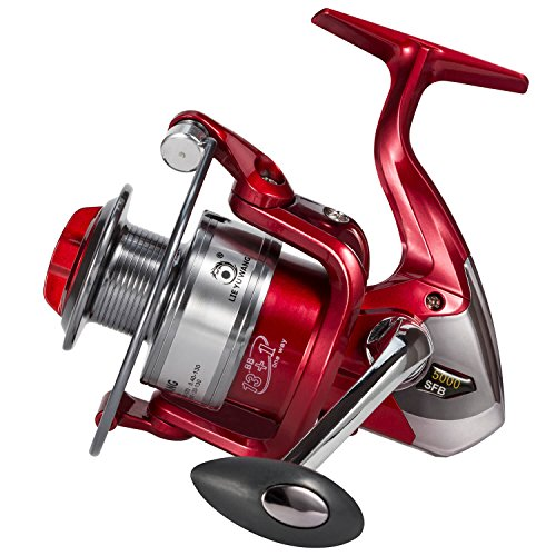 - Fatmingo Fishing Reel 13+1BB Ultra Smooth Spinning Reels 5000, Left/Right Interchangeable Handle for Freshwater Saltwater Boat Bass Fishing (Red)