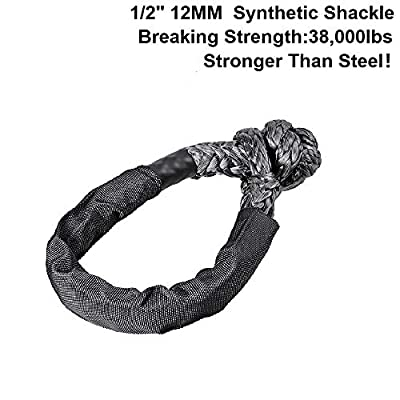 Synthetic Soft Shackle Black Rope 1/2 Inch X 22 Inch (38,000lbs Breaking Strength) Black Shackle Recovery Rope with Protective Sleeve for ATV Truck Jeep Recovery Towing SUV 4X4 (Black, 1 Pack): Automotive
