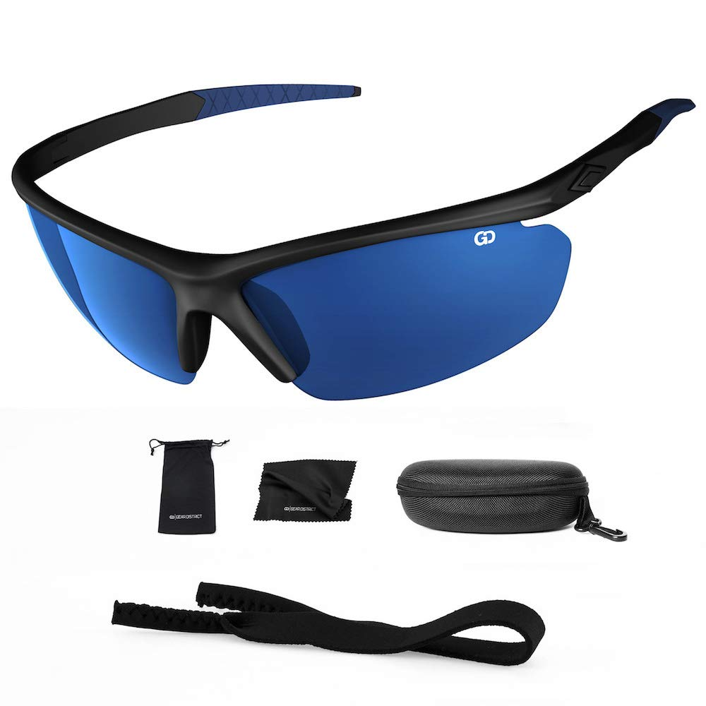 Polarized UV400 Sport Sunglasses Anti-Fog Ideal for Driving or Sports Activity (Black, Mirror Blue) by Gear District