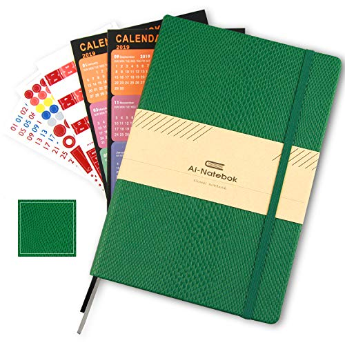 College Ruled Notebooks Journal, A5 Lined Green Hard Cover PU Leather Pocket Composition Notebook for Women/Men/Student Subject,192 Pages Thick Paper - 120gsm, 8.5