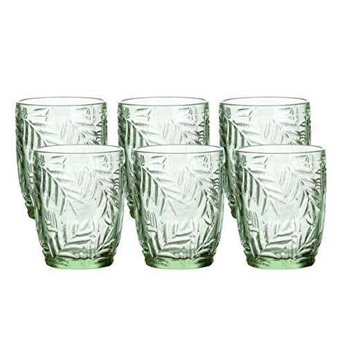 Coloured Glass Vintage-Inspired Pressed Pattern Water Glasses, Set of 6 (Green)