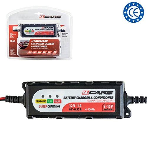 4CARS Intelligente chargeur & mainteneur de Batterie à 5-Étapes 1,0 A; 12 V pour Véhicule/Voiture/Moto/Tondeuse/Batterie AGM et Gel