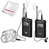 COMICA CVM-WM100 UHF 48 Channels Wireless Lavalier Microphone 100m Working Distance Omni-directional Recording Mic for Camera 5D III,5D II,6D,Panasonic GH5,GH4,Camcorder,Smartphone Iphone Samsung...