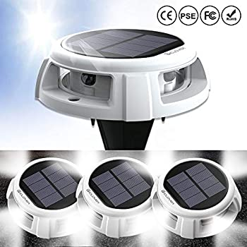 Solar Ground Lights, IC ICLOVER New Upgraded IP68 Waterproof Pool Floating Lights, Outdoor Landscape Garden Lights, Trample to Change Mode, Suitable for Step Sidewalk Stair Pathway Yard (4 Pack)