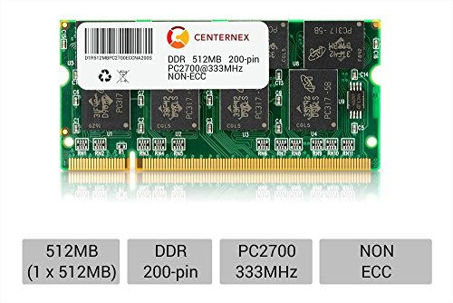 512MB STICK SODIMM DDR NON-ECC PC2700 333MHz 333 MHz DDR-1 DDR 1 512M Ram Memory by CENTERNEX (Memory 512mb Ddr Pc)