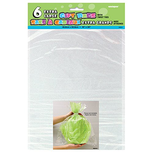 Large Clear Cellophane Bags 6ct