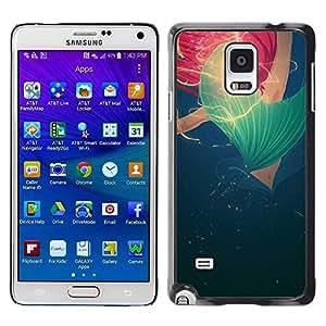 LECELL--Funda protectora / Cubierta / Piel For Samsung Galaxy Note 4 SM-N910 -- Blue Red Rose Poppy Spring Summer --