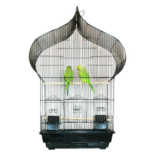 "Kahua Kabin Oriental Top Bird Cage - 18""W x 14""D x 34""H - Black"