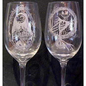 Nightmare Before Christmas ~ JACK & SALLY Wine Glasses