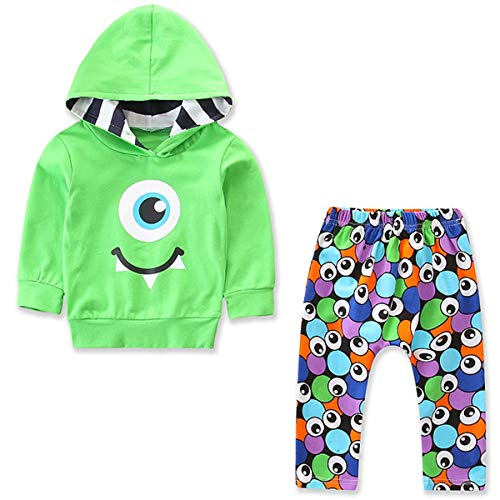 Baby Boys Girls Clothes Monster Hoodie Top Legging Pants Home Coming Outfits (Green, 1 Years)