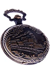 Railway Train Pocket Watch With Chain Quartz Movement Arabic Numerals Full Hunter Vintage Design PW-41