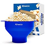 PowerLix Microwave Popcorn Popper, Collapsible Silicone Bowl, Hot Air Popcorn Maker, Healthy Machine No Oil Needed, BPA PVC Free With Lid AND Convenient Handles - Free e-Book Popcorn Recipes Include