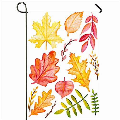 Ahawoso Garden Flag 12x18 Inches Art Green Botany Watercolor Autumn Leaves Nature Vintage Orange Bright Color Fall Foliage Forest Outdoor Decorative Seasonal Double Sided Home House Yard Sign