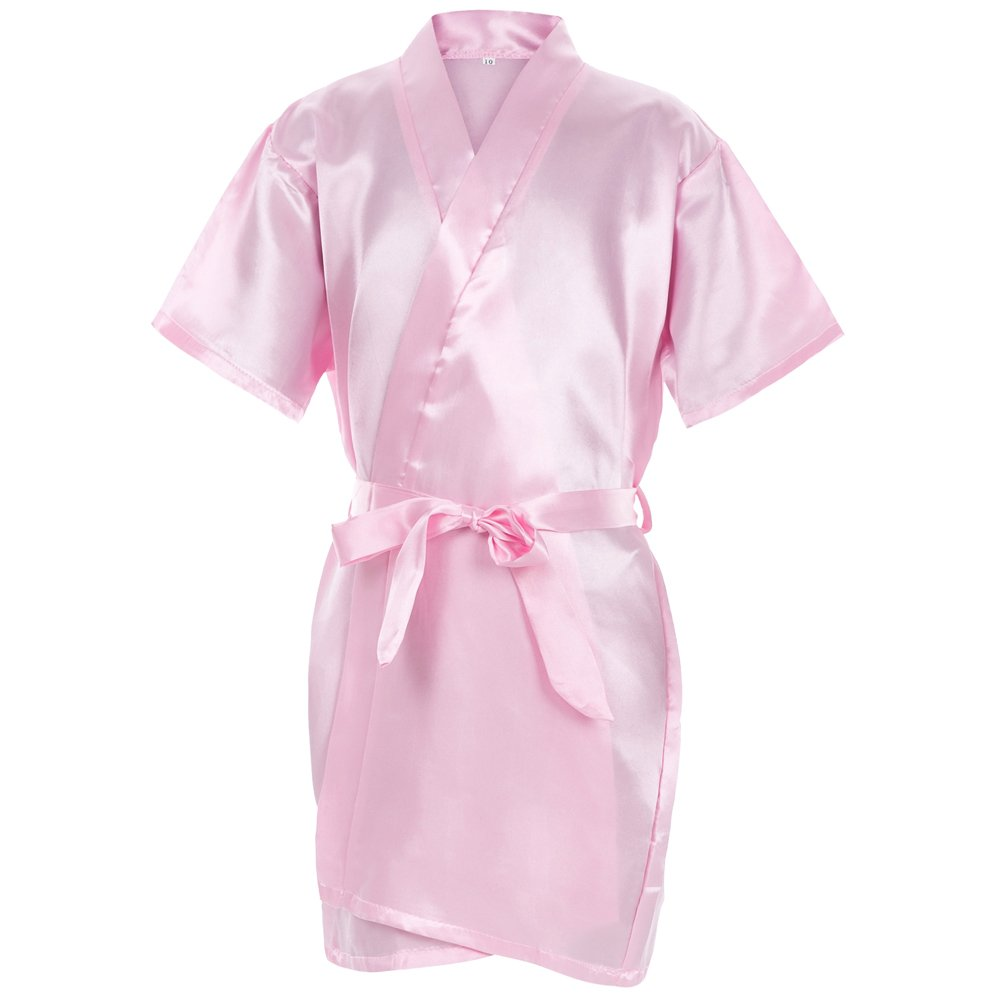 Mr & Mrs Right Kids' Pure-Color Satin Kimono Robe for Spa Party Wedding Birthday