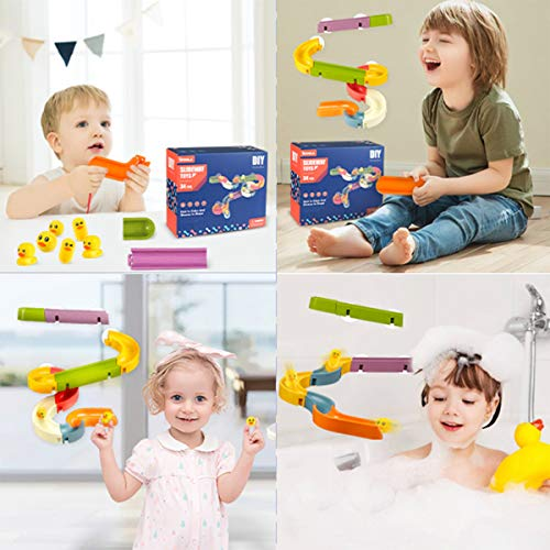 Think Wing Bath Toys Water Track for Wall Waterfall Toy Take Apart Bathtub Toys for Toddlers 3+ Years DIY Marble Runs Gift for Kids 35 Pcs