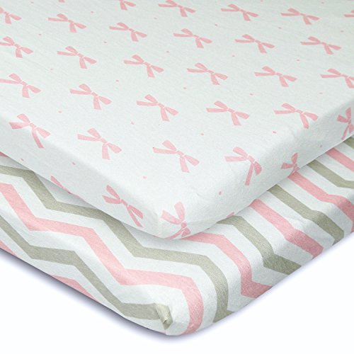 Cuddly Cubs Pack n Play Playard Sheets - Set of 2 Jersey Cotton Fitted Sheets for Mini/Portable Crib Mattress - Gray and Pink with Chevron, Dots & Bows - TOP QUALITY Nursery Bedding for Girls