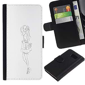 iBinBang / Flip Funda de Cuero Case Cover - Fashion Sketch White Black Dress - Samsung Galaxy S6 SM-G920