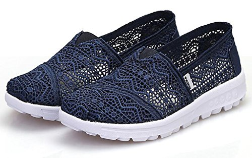 Outdoor Blue Flower Classics Sneakers Loafers Size Women's GFONE Running On Floral Color Lace Casual Slip Breathable Shoes Summer Hollow Trainers Z8wXH8