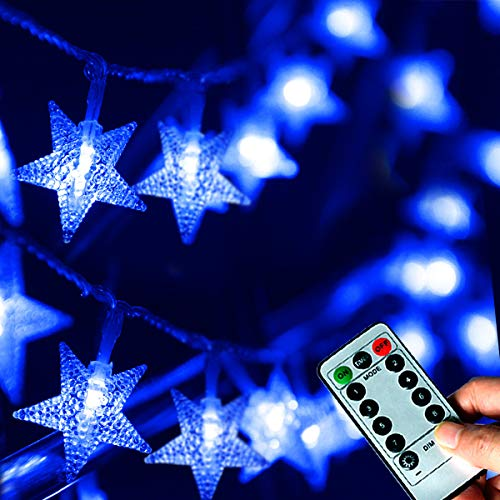 Abkshine Blue Fairy Lights, Battery Operated Star Lights String with Timer, Indoor Led Christmas Lights for Tree Decoration(25ft, 50 LED) (Battery Star Lights Led Operated)
