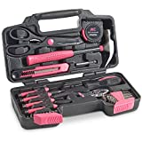 VonHaus Pink 39 Piece General Tool Set - Home Hand Tool Kit with Plastic Toolbox Storage Case