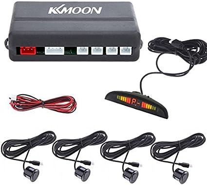 KKmoon LED Aparcamiento Radar Reverso con 4 Sensores, Color Negro