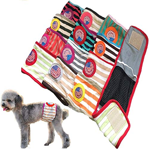 FunnyDogClothes Set – 6pcs Dog Puppy Diaper Male Boy Belly Band Reusable Washable for Small Dog Breeds