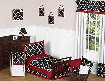 Amazoncom Sweet Jojo Designs 5 Piece Red Black And White Trellis