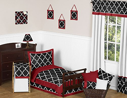Sweet Jojo Designs Toddler Bed Skirt for Red, Black and White Trellis Print Kids Children's Lattice Bedding Sets