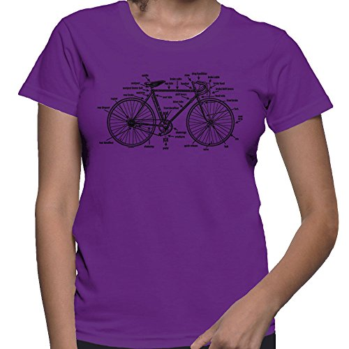 Women's Anatomy of A Bicycle T-Shirt (Purple, X-Large)