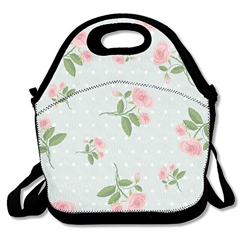 - HYEECR Pink Flower Green Ground Portable Lunch Tote Bags, Takeaway Lunch Box, Outdoor Travel Fashionable Handbag For Men Women Kids Girls
