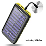 Power bank Portable charger Solar Charger -24000mAh External Battery Pack High Capacity with USB Fan and 3 USB Port for iPhone, iPad, Samsung, HTC, and other Tablet-(yellow)