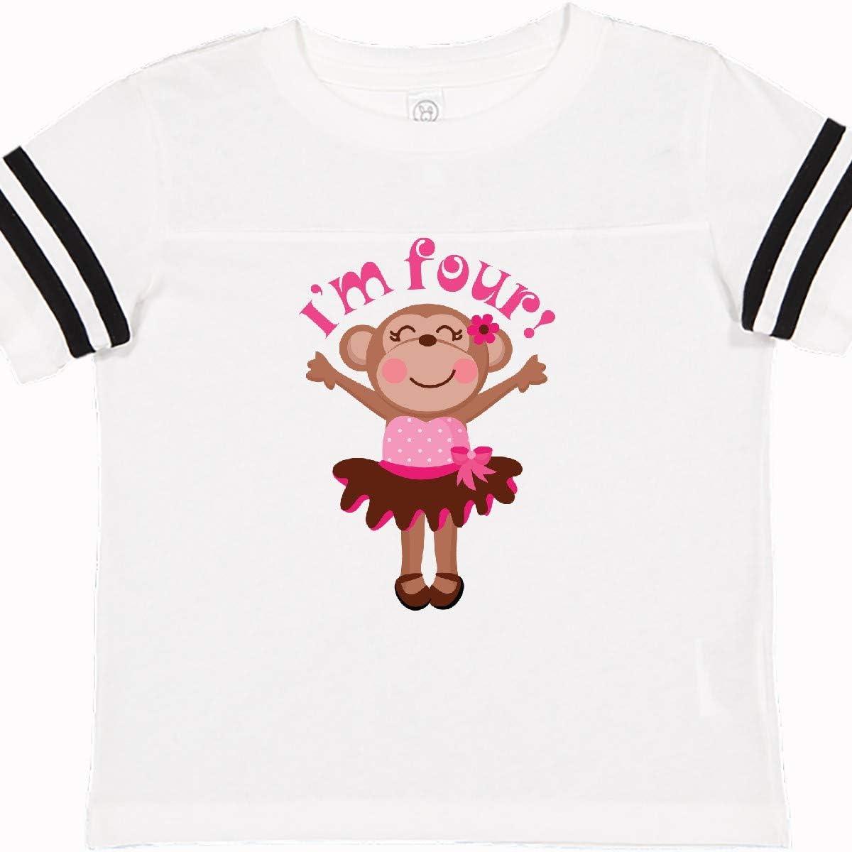 inktastic Monkey 4th Birthday Gift for Girl Toddler T-Shirt