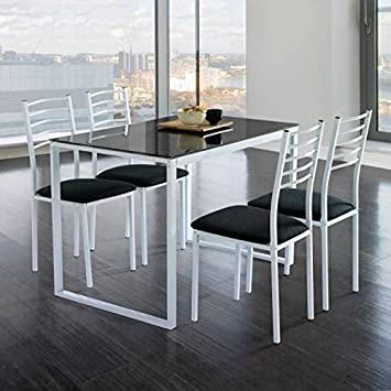 KITKAY Conjunto Noa de Mesa de Cocina + 4 sillas Cristal Negro