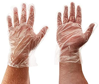 Winco Clear Disposable PE Gloves, Large, 500 pcs.