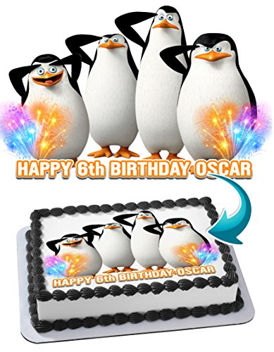 Madagascar Penguins Cake Birthday Cake Personalized Cake Toppers Edible Frosting Photo Icing Sugar Paper A4 Sheet 1/4 ~ Best Quality!