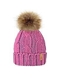 MIOIM Parent-Child Baby Women Hat Knitted Beanies Faux Fur Pompom Hat Bobble Ski Cap