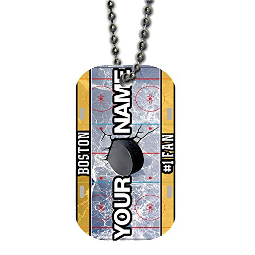 BleuReign(TM) Personalized Custom Name Hockey Team Boston License Plate Single Sided Metal Military ID Dog Tag with Beaded Chain