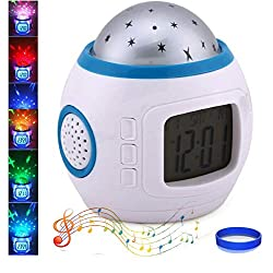 Kids Alarm Clock Sky Star Night Light Projector Lamp Bedroom Unique Clocks With music Backlight Calendar Thermometer Birthday Toy for Kids Children Baby Infants Boys Girls