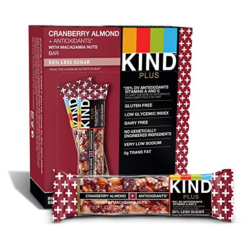 - KIND Bars, Cranberry Almond + Antioxidants with Macadamia Nuts, Gluten Free, Low Sugar, 1.4 Ounce Bars, 12 Count (Packaging May Vary)