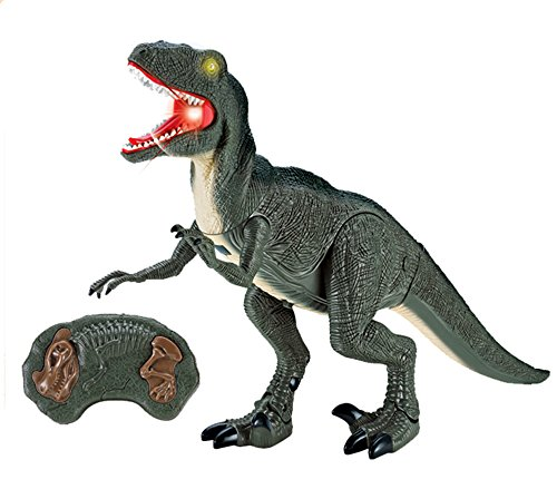 Dino Planet Remote Control Velociraptor R/C Walking Dinosaur Toy with Shaking Head, Light Up Eyes and Sounds