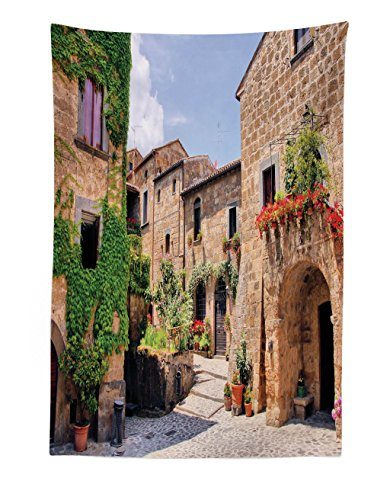 - Lunarable Tuscany Tapestry, Italian Streets in Countryside with Traditional Brick Houses Old Tuscan Prints, Fabric Wall Hanging Decor for Bedroom Living Room Dorm, 30 W X 45 L inches, Multicolor