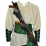 : Armor Venue: Pirate's Triple Threat Pistol Baldric and Belt - LARP Costume Black X-Large