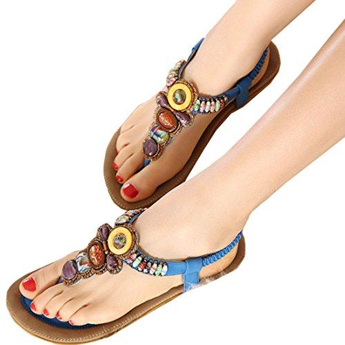Oasap Mujer Thong Sandals Sandalias Bohemia Adorno de Rhinestone Azul