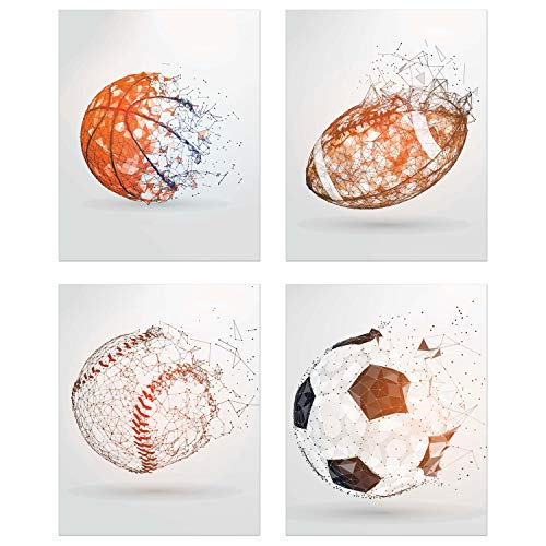 Summit Designs Sports Balls Wall Art Décor - Set of 4 Unframed (8x10) Poster Photos - Basketball Baseball Soccer Football