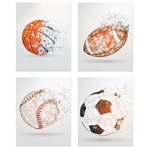 - Summit Designs Sports Balls Wall Art Décor - Set of 4 Unframed (8x10) Poster Photos - Basketball Baseball Soccer Football