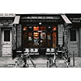 Canvas Gallery Wrap France (Cafe Bar du Bresil) Art Poster Print - 24x36 by Rich and Framous